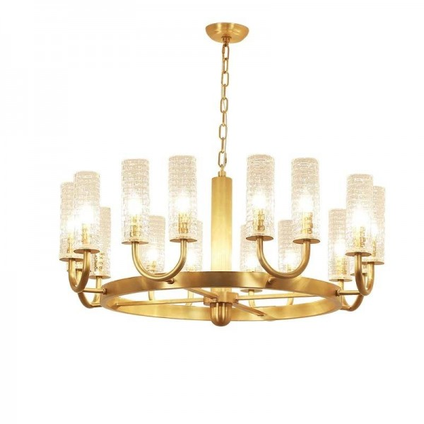 Amerikanischen Kronleuchter voller Kupfer Gold Wohnzimmer Glas Lampenschirm einfache Atmosphäre Esszimmer kreative Persönlichkeit Nordic Lampen