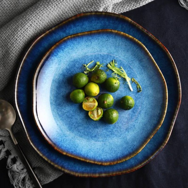 Blaue Teller Teller Teller Blaue Farbe Gold Inlay Geschirr Sale