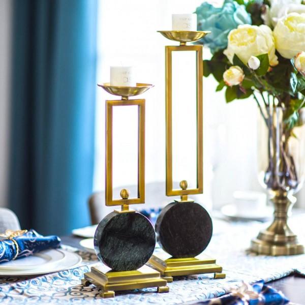 Emerald Modell Zimmer Kerzenständer Tischdekoration Dekoration Marmor Metall Kerzenständer European Ornament Dekorative Kerzenhalter