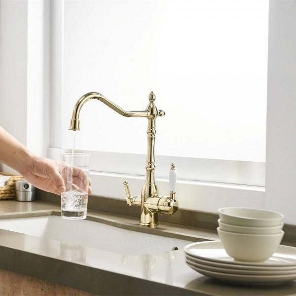 Küchenarmatur Torneira Cozinha Gold Armaturen 360-Grad-Drehung Drei-Wege-Hahn für Wasseraufbereitungskran für die Küche LAD-165