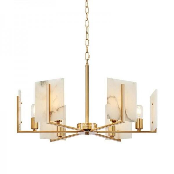 Moderne 6 Licht Kupfer Kronleuchter Lampe Marmor Lampenschirm Wohnzimmer Schlafzimmer Dekoration Beleuchtung E27 Birne