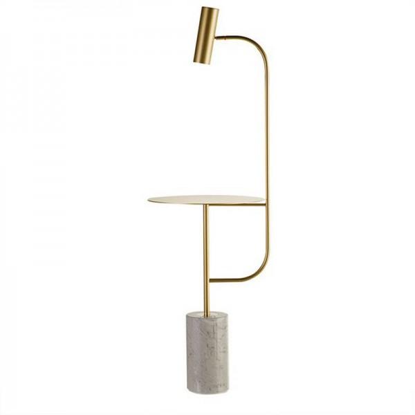 Moderne Stehlampe aus Marmor mit winkelverstellbarem Tisch Schwarzgold Fußschalter E27 LED Strahler naturweiß 4000K warm