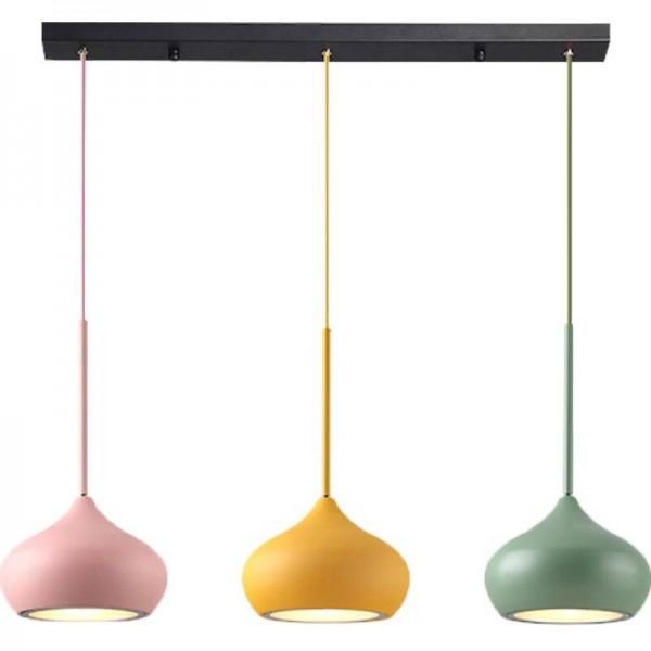 Moderne einfache led esszimmer 3 lampen combo pendelleuchten macaron bunte kreative foyer droplight kinderzimmer leuchte