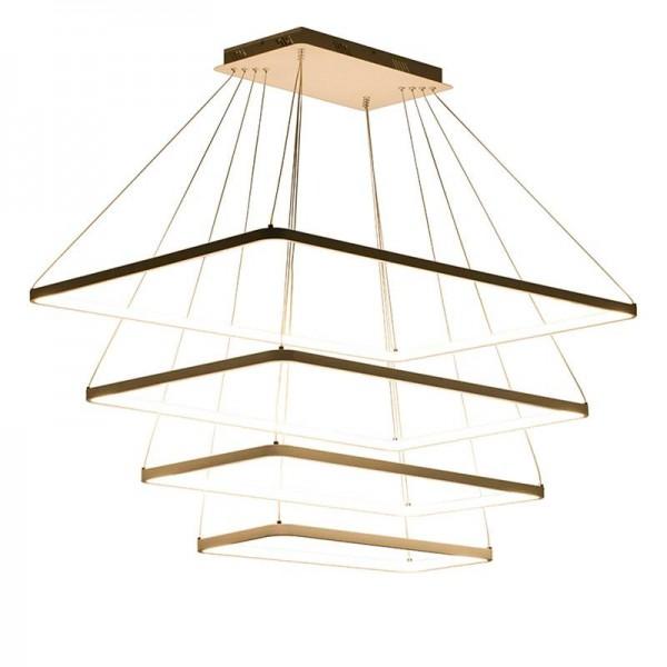Moderner quadratischer LED-Leuchter Dimmbares Ringrechteck beleuchtet die einfache Lampe, die hängende Tropfenleuchte des Wohnzimmers speist