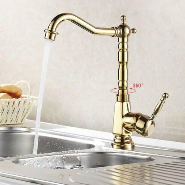 Neue Becken Waschbecken Wasserhahn Gold Heiß / Kalt Mischer Wasserhahn Küche Bad Waschbecken Waschbecken Wasserhahn Bad Kran 8105 Karat