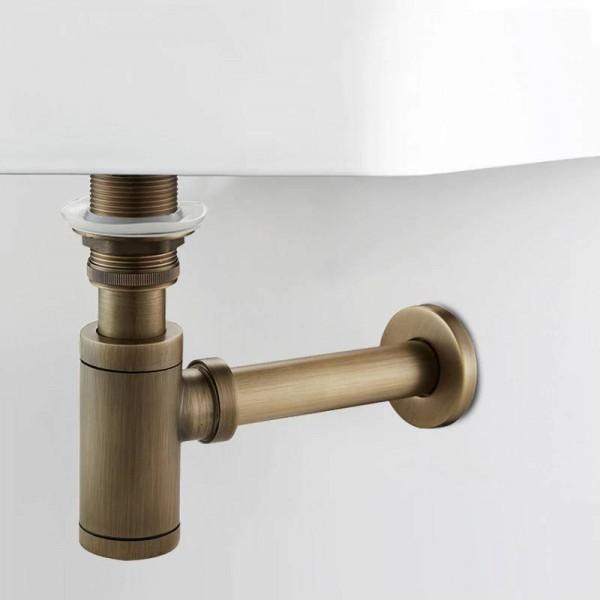 New Luxury Bottle Trap Messing Runde Siphon Nickel / Weiß P-TRAP Bad Eitelkeit Becken Rohr Abfall Mit Pop Up Drain XSQ1-24