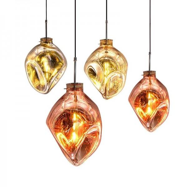 Nordic Wohnzimmer Coffee Shop Kreative Glaspendelleuchten Postmodern Bernstein Roségold Silber Glasschirm LED Hängeleuchte