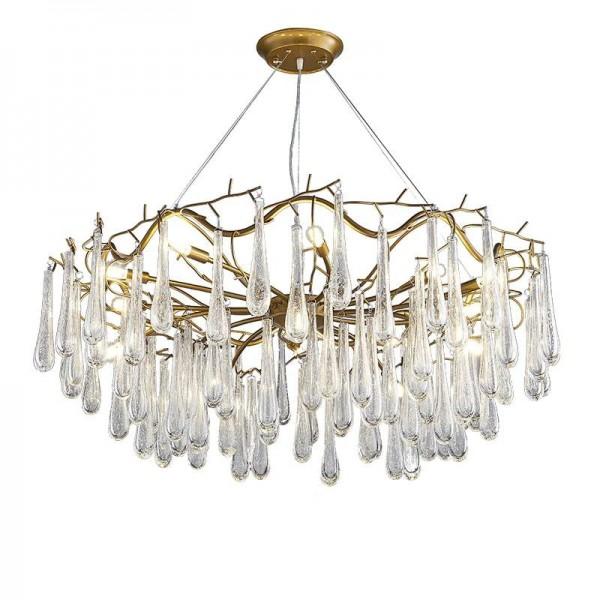 Post moderne kreative Wassertropfen Chandelie Licht Gold Farbe Metall handgefertigt Glas Cracked Lampenschirm Wohnzimmer Shop Cafe