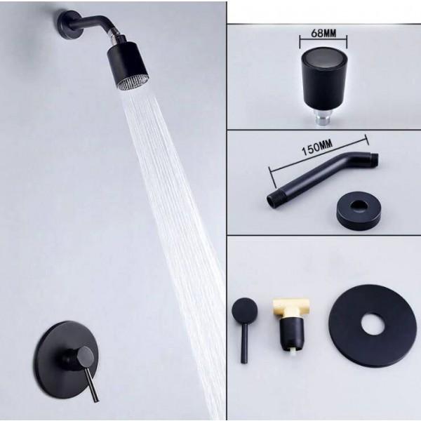 Regenduschenset Brausebatterie schwarz Unterputz-Brausegarnitur herausnehmbare Reinigungsbrausegarnitur XT399