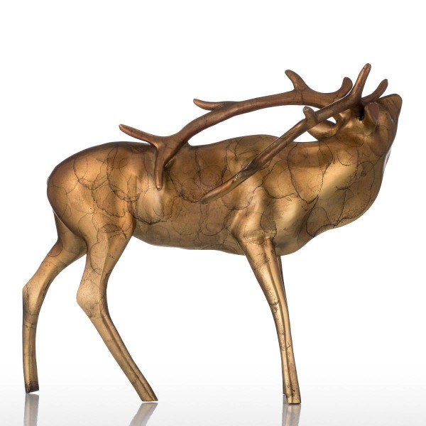 Feng Shui Figur goldene Kupfer Buck Bronze Handwerk Shinny Aussehen Tier Buck Skulptur Dekor Geschenk für Hausgarten
