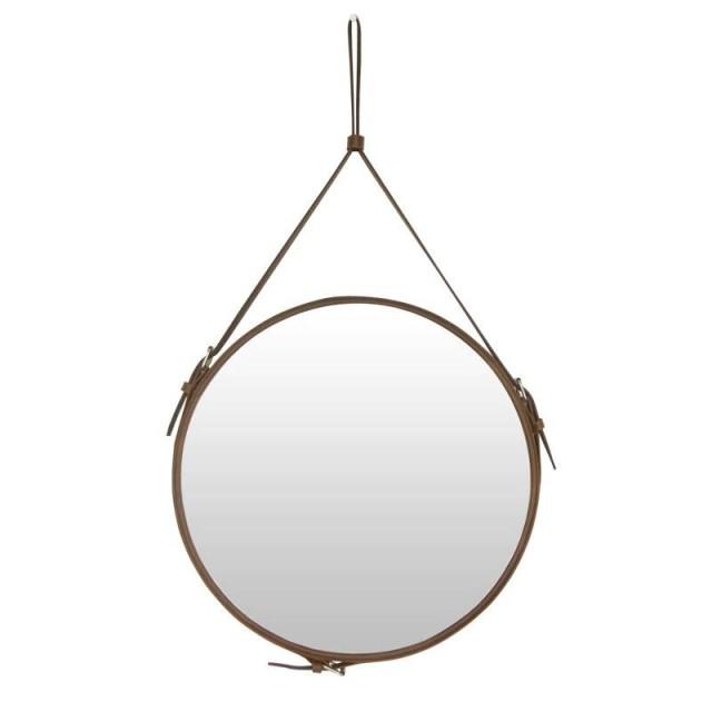 Kreative runde gürtel hängen spiegel bad pu leder rahmen kosmetikspiegel hotel dekoration wandspiegel mx3081024