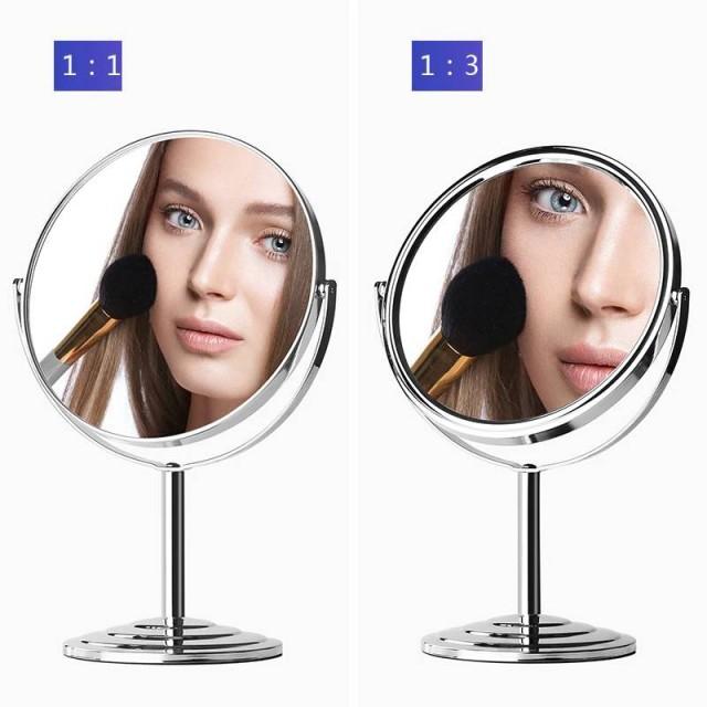 Desktop doppelseitige Kosmetikspiegel einfachen europäischen Stil zu Hause 6/7/8 Zoll Metall Runde vergrößern Schminktisch Spiegel mx01111018