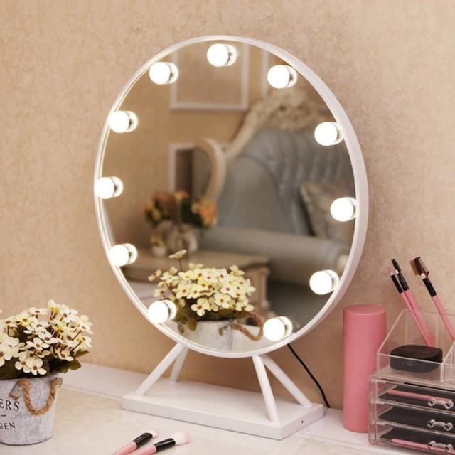 LED runden Kosmetikspiegel mit Sockel Nordic Style Home großen Desktop dekorative Eitelkeit Standspiegel mit Lichtern mx12291738