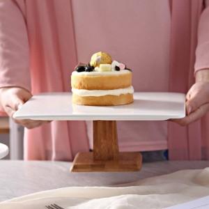 10 '' Quadrat Keramik Tortenständer Dekorative Porzellan Holz Kompott Tablett Geschirr für Pudding Chiffon Kuchen Muffin Tiramisu