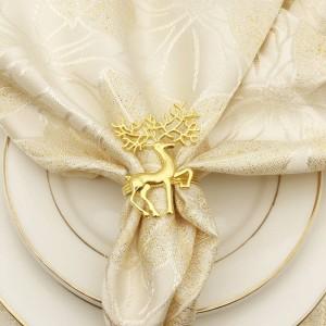 10 teile / los Gold Silber Elch Serviettenschnalle Metall Deer Serviette Kreis Weihnachten West Tischdekoration Serviettenringe