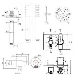 """12 """"Deckenrundmischer Dusche Ultra Thin Thermostat Duschkopf Set Badezimmer Chrom Ventil Set"""