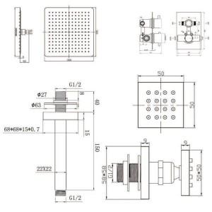 """12 """"Decken-Quadratmischer-ultradünner Duschkopf mit Körper-Mitteilungsstrahlen-Thermostat-Hähnen"""