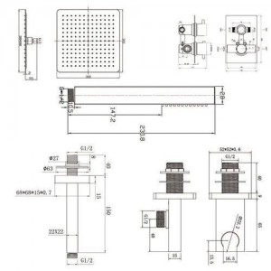 "12 ""Deckenquadratmischer Ultra Thin Thermostat Duschkopf Set Badezimmer Chrom Ventil Set"