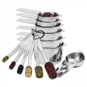 13 Stück Edelstahl Messbecher und Löffel Set für Küche Backen Zucker Kaffee Messwerkzeuge