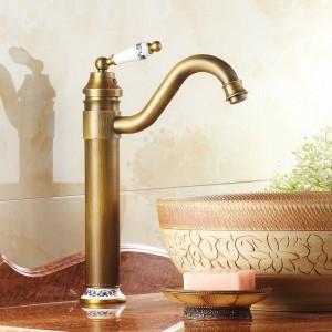 """13 """"Antik Messing & Porzellan Wasserhähne Spüle Bad Becken Messing Wasserhahn Mischbatterie Swivel 98831AP"""