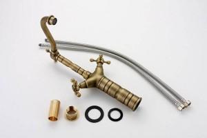 """15 """"Antique Brass Kitchen Swivel Armaturen Waschbecken Waschbecken Wasserhahn Mischbatterie 9056A"""