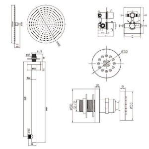 """16 """"-Rundmischer-Thermostat-Duschset mit ultradünnem Kopf und Massagedüsen-Thermostatarmaturen aus Chrom"""
