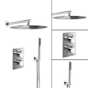 """16 """"ultradünne runde Mischer-Thermostat-Duschsatz-Badezimmer-Ventil-Satz Chrom-Handkopf"""