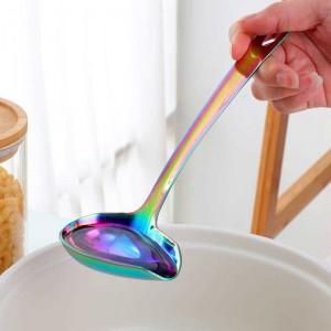 1 Stücke Edelstahl Suppenschöpflöffel Mit Langen Griff Hot Pot Auslauf Geschlitzte Suppe Ente Mund Geformt Küche Kochutensilien Utensilien