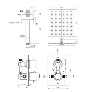"""1 Weg Square 16 """"Deckenmischer Thermostat Dusche Set Ultra Thin Head Chrom Bad Ventil Set"""