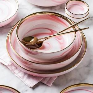 1 stück Rosa Marmor Keramik Teller Reis Salat Nudeln Schüssel Suppenteller Geschirr Sets Home Geschirr Küche Kochwerkzeug