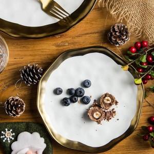 1 STÜCKE 8/10 zoll Geschirr Keramik Essteller Western Steak Platte Gericht Gold Inlay Porzellan Dessertteller Geschirr Kuchen Platte