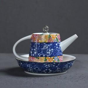 200 ML Handgemalte Emaille Farbe Keramik Porzellan Hause Kaffee Wasserkocher Tee-Set Teekanne Pu'er Tee Tasse Deckel Untertasse