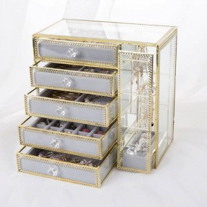 Neue Schublade Aufbewahrungsbox Gold Schmuck Aufbewahrungsbox Ohrringe Ohrringe Halskette Glas Desktop Schmuck Box Geschenke