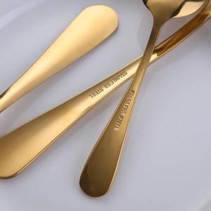 24 teile / los Goldene Edelstahl Steakmesser Gabel Set Gold Besteck Mit Luxus Holz Geschenkbox Drop Shipping