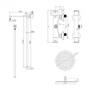 2 Zifferblatt 1-Wege-Badezimmer-Thermostat-Regenduschkopf-Set Runde Mischbatterie Duschventilplatte