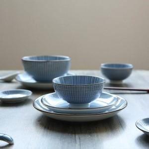 2-Personen-Geschirrset aus Keramik im japanischen Stil, einfarbig unter glasierten Tellern 12Köpfe