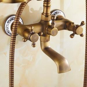 2-Wege-Wandmontage Antike Bürste Messing Badewanne Armaturen Bad Waschbecken Mischbatterie Mit Handbrause Bad & Dusche Wasserhahn