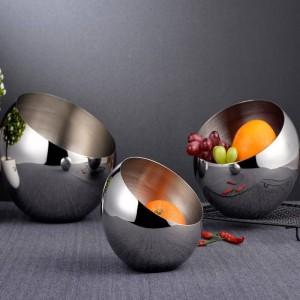 304 Silber Edelstahl schräge Schüssel Buffet Gewürztank Box mit kugelförmigen Obstschalen Trockenobst Snack Dish