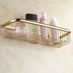 30cm-45cm an der Wand befestigte goldene polierte Badezimmer-Zusatz-Badezimmer-Regale, Korb-Regal