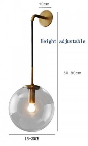 Nordic Modern LED Wandleuchte Grau / Klarglas Kugel Lampenschirm Badezimmerspiegel Schlafzimmer Neben Wandleuchte Wandleuchte Hauptbeleuchtung