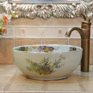 35 cm Mini Crack Blume und Vogel handgemachte Lavabo Waschbecken künstlerische Waschbecken Keramik Waschbecken klein