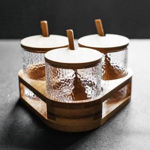3-teiliges Set aus hammerförmigem Glasgewürzglas Gewürzbox-Set Gewürz- und Pfefferstreuer Zuckersalz-Chilitopf-Küchenutensilien