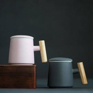 400 ml Kaffee Keramik Tasse Kreative Holzgriff Milch Tasse Wasser Tasse Hand Tee Tasse Fühlen Licht Umfangreiche Verwendung