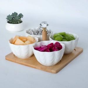4 teil / satz mit tablett Gabel Kreative Keramik Obstschale Salatschüssel Partition Obstsalat Snack Platte Trockenobstteller japanische gerichte