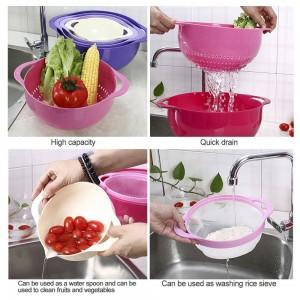 4 stücke Sieb Set Siebkorb Kunststoff Stapelbar Obst Gemüse Waschkörbe Abtropffläche Waschen Reis Sieb Küche Körbe Werkzeug