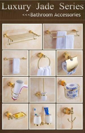 511G Serie Golden Polish Brass & Jade Wandmontage Badzubehör Sets Handtuchhalter Handtuchregal Papierhalter Seifenschale
