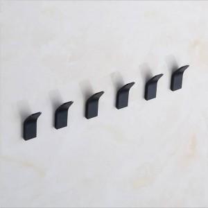 5 stücke Raum Aluminium Punch Free Haken Küche Bad wohnzimmer Aufbewahrungshaken Schwarz Moderne Einfachheit Home Organizer