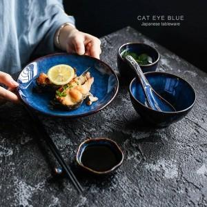 5 stücke pro satz tiefblauen keramik geschirr 1 person geschirr teller schüssel tasse soße gericht porzellan geschirr