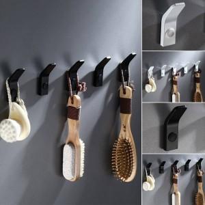 5 Stücke Raum Aluminium Kleiderhaken Wand Hängen Montiert Handtuchhaken Weiß / Schwarz Gemalt Kleiderhaken Bad Hardware