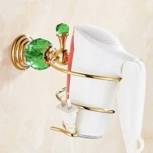 615G Serie Golden Polish Brass & Green Crystal Wandmontage Badezimmer Hardware Handtuchring Handtuch Regal Haken Papierhalter